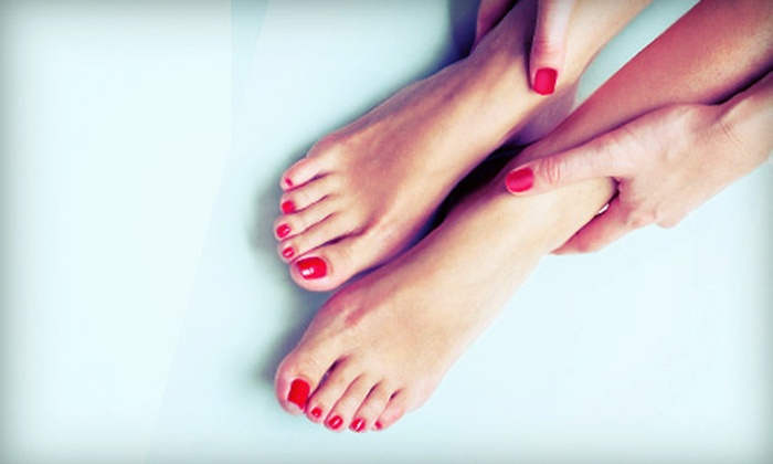 Girl on the Go! Night Spa - Golden Hill: One or Two Mani-Pedis with Champagne or One Kid's Mani-Pedi at Girl on the Go! Night Spa (Up to 54% Off)