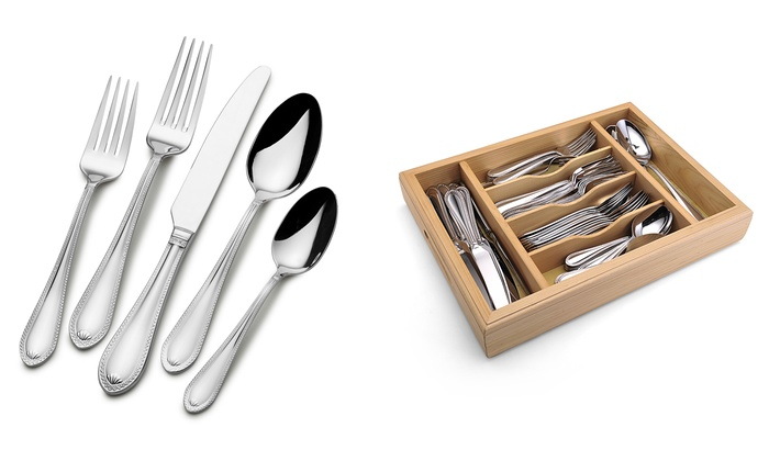 mikasa sinclair flatware set 65piece with caddy mikasa sinclair flatware set