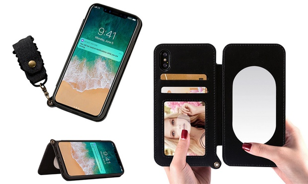 Flip Case with Lanyard and Mirror foriPhoneX/6/6Plus/7/8/7/8Plus