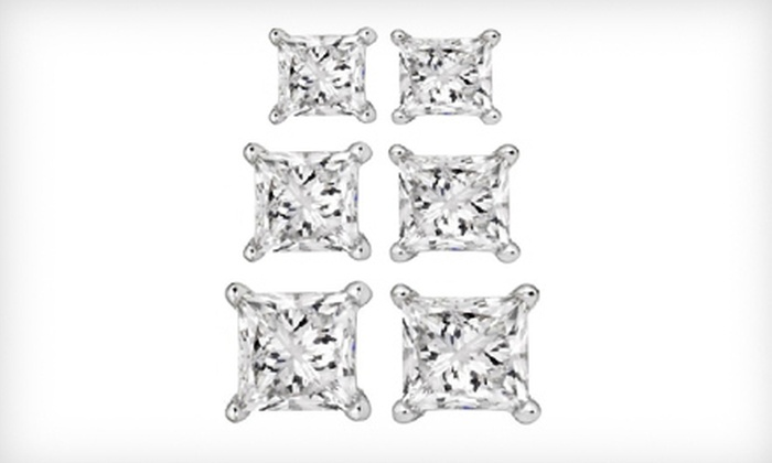 Diamond Earrings Set in 14K White Gold: Princess-Cut Diamond Stud Earrings Set in 14K White Gold (Up to 70% Off). Three Sizes Available. Free Shipping.