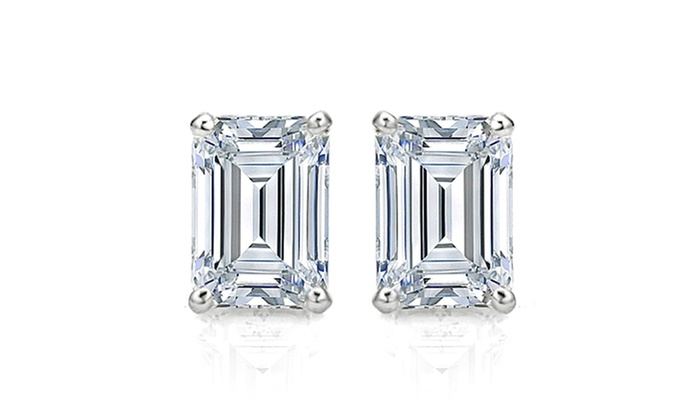 emerald cut stud earrings 4 00 ctw emerald cut cz studs groupon goods 6408