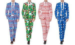 Men's Classic Fit Christmas Suit with Matching Tie