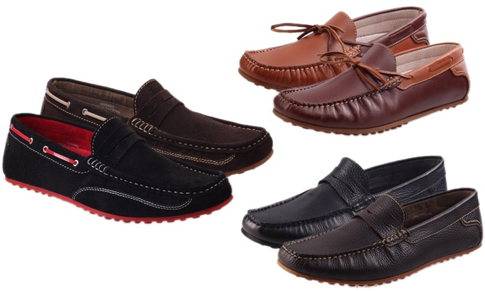 Mocassins Unze London 100% cuir   Groupon Shopping 0af96d298dc7