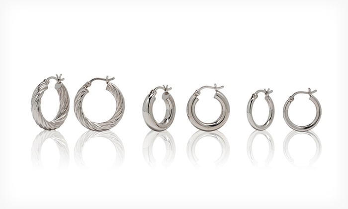 2- or 3-Pair Sterling Silver Hoop Earring Sets: 2- or 3-Pair Sterling Silver Hoop Earring Sets (Up to 79% Off). Multiple Designs Available. Free Shipping and Returns.