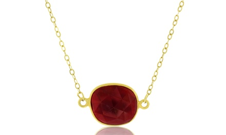 8.00 CTW Genuine Ruby Pendant in 18K Gold Over Sterling Silver