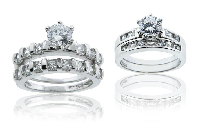 Divine Elegance Cubic Zirconia Wedding-Ring Set. Multiple Styles.