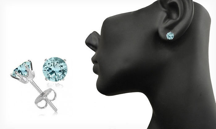 Simulated-Aquamarine Stud Earrings: $8.99 for March Birthstone Simulated-Aquamarine Stud Earrings ($75 List Price). Free Returns.