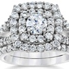 2 CTTW Diamond Cushion Halo Engagement Wedding Ring in White Gold