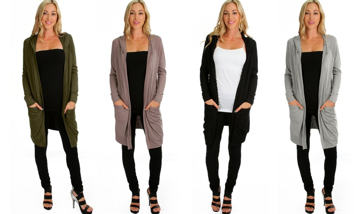 Lyss Loo Women's Long-Line Hooded Cardigans | Groupon