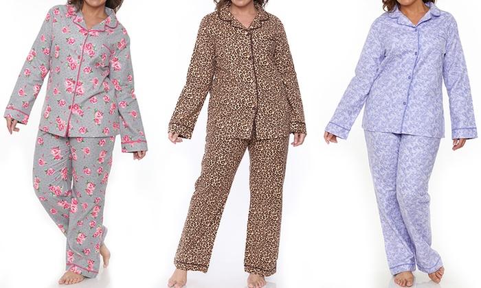 White Mark Women's Plus-Sized Flannel Pajamas | Groupon