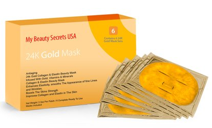 6- or 12-Pack of European Gold <strong>Face</strong> Masks from My Beauty Secrets USA (Up to 80% Off)