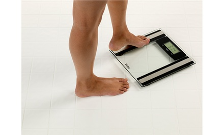 groupon daily deal - Vivitar Body Fat and Total Fitness Digital Scale in Black or Clear. Free Returns.