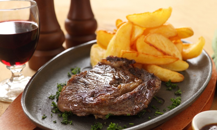 TriBeCa Woodlands  - Woodlands: 8oz Rib-Eye Steak with Bottle of Wine for Two at TriBeCa Woodlands (45%)