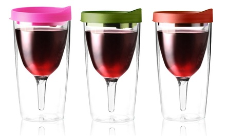 2-Pack of Vino-2-Go Wine Glasses.