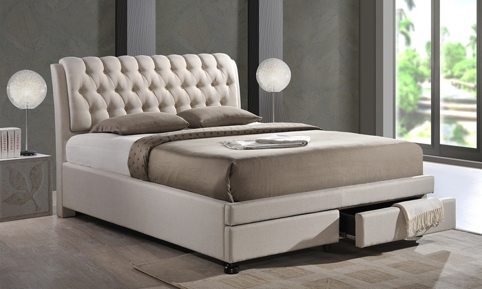 morgana upholstered bed with storage groupon. Black Bedroom Furniture Sets. Home Design Ideas