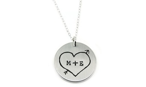 Hannah Design Heart N Arrows Sterling Silver Necklace
