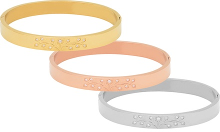 Tree of Life Bangle in Stainless Steel, 18K Gold Plating, or 18K Rose-Gold Plating