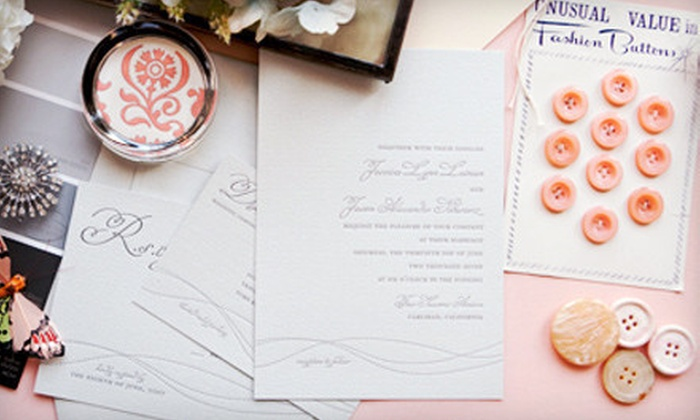 Delphine: Wedding Invitations, Custom Stationery, & Fine Paper Goods from Delphine (Up to US$800 Value). Three Options Available.