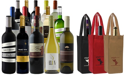 15-Bottle Holiday Wine Package with Gift Bags from Splash Wines (74% Off)