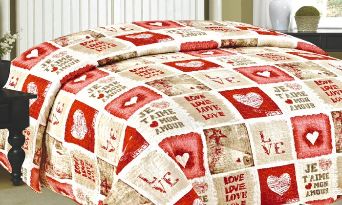 Copriletto imbottito love groupon goods for Trapunta matrimoniale estiva