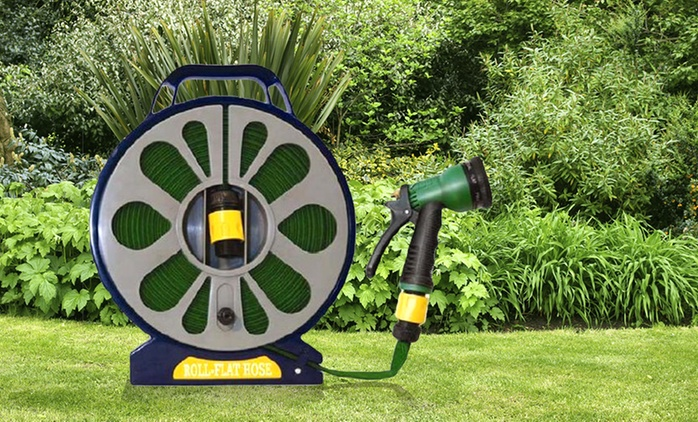 One or Two 50ft Flat Hoses and Reels with Spray Gun