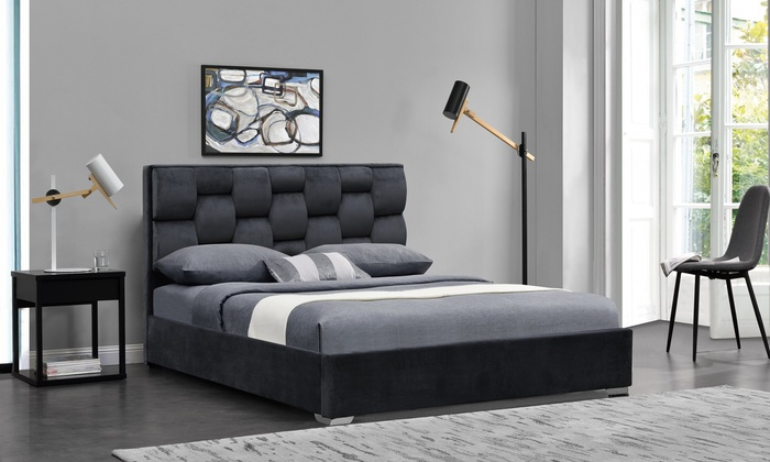 Sydney Patterned Plush Bed Frame with Optional Silver or Tobe Mattress from £199 (55% OFF)