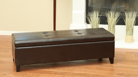 Edina Tufted Storage Ottoman in Fabric or Bonded Leather