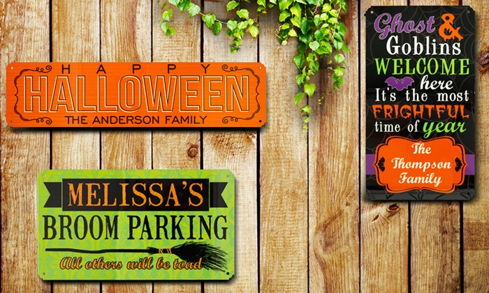 "Personal Creations: 8""x14"" or 5""x20"" Personalized Halloween-Themed Spook-tastic Metal Sign from Personal Creations"