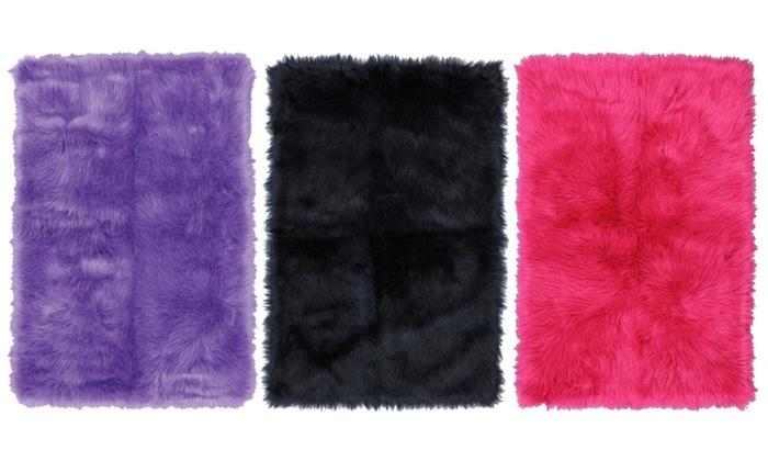 "Mohawk Flokati 30""x46"" or 40""x60"" Plush Accent Rug: Mohawk Flokati 30""x46"" or 40""x60"" Plush Accent Rug in Black, Fuchsia, or Purple. Free Returns."