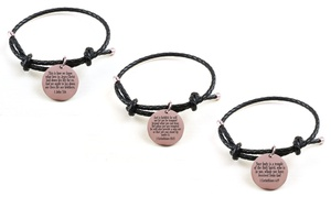 Genuine Holy Scripture Leather Bracelet in Rose Gold by Pink Box