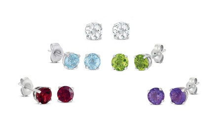 5-Pair Set of Genuine 4mm Gemstone Stud Earrings in Sterling Silver