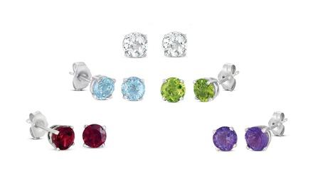 5-Pair Set of Genuine 4mm Gemstone Stud Earrings in Sterling Silver