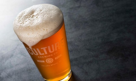 Souvenir Pint Glasses and Beer for Two or Four, or Growler and Fills at Culture Brewing Co (Up to 55% Off)