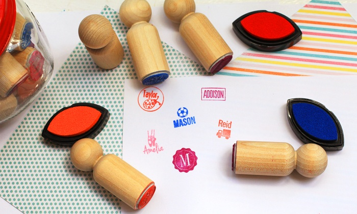 The Plaid Barn: 1, 5, or 10 Personalized Mini Wooden Stamps from The Plaid Barn (Up to 63% Off)