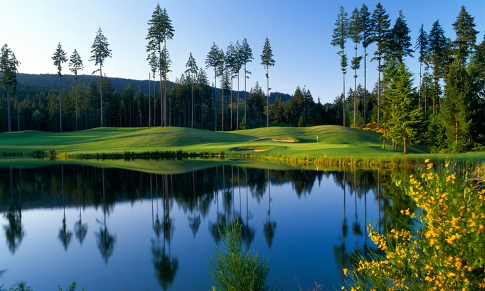 Columbia Hospitality Golf - Gold Mountain Golf Club: 18 Holes on the Cascade or Olympic Course for Two with Cart and Two Beers at Gold Mountain Golf Club (50% Off)