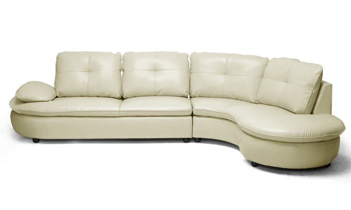 Beige leather sectional sofa groupon goods for Sectional sofa groupon