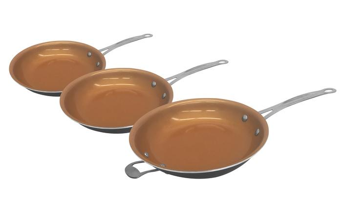 up to 55 off on steel non stick pans set of 3 groupon. Black Bedroom Furniture Sets. Home Design Ideas