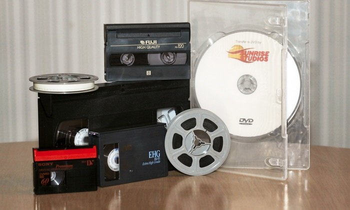 Sunrise Studios: Transfer of Three Videocassettes, 100 Photos, or $50 Worth of Movie Film to DVD from Sunrise Studios (Up to 69% Off)