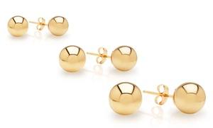 14k Solid Gold Ball Studs. Multiple Options Available From $12.99��$17.99