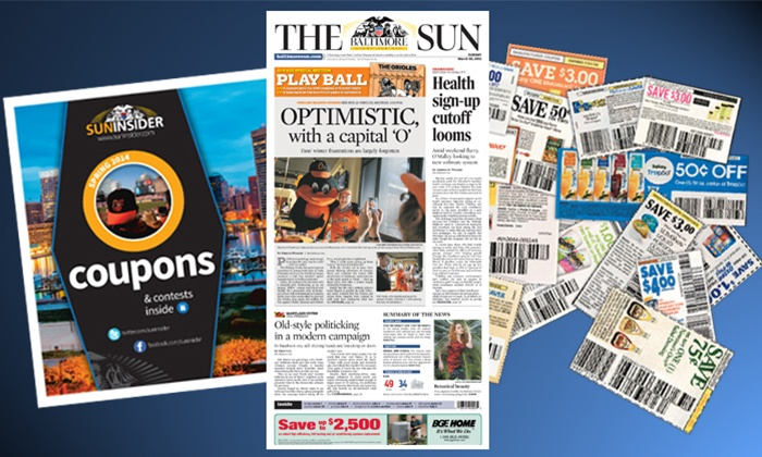 "<i>The Baltimore Sun</i> - Baltimore: $10 for a 52-Week Wednesday and Weekend Subscription to ""Baltimore Sun"" ($338 Value)"