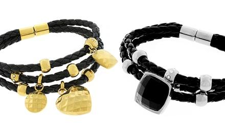 Women's Leather Wrap Bracelet Made with Swarovski Elements