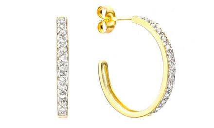 Diamond Accent Hoop Earrings in 10K Yellow Gold
