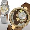 Akribos XXIV Women's Flower Dial Leather Watch