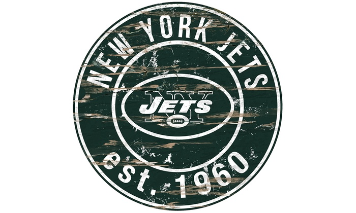 New York Jets Round Distressed Sign