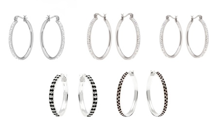 Hoop Earrings with Swarovski Elements Crystals in Sterling Silver from $15.99–$24.99