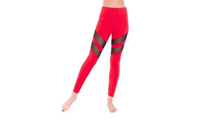 Up To 75% Off on Women's Tuck Mesh Racer Leggings | Groupon Goods