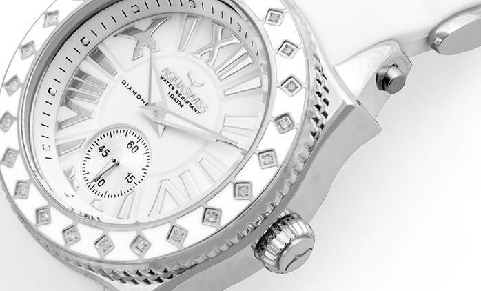Aquaswiss Damen-Armbanduhr Swissport L24 mit Diamant-Besatz inkl. Versand (91% sparen*)