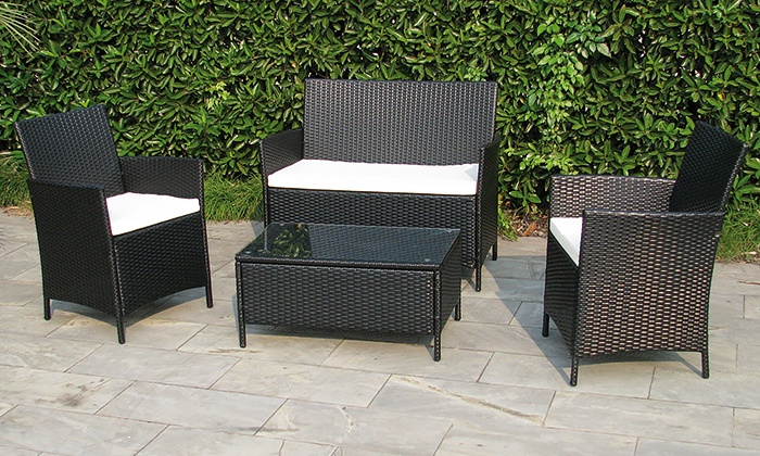 polyrattan sitzgruppe wetterfest groupon goods. Black Bedroom Furniture Sets. Home Design Ideas