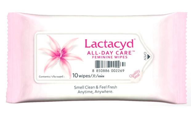 แลคตาซิด ผลิตภัณฑ์แผ่นเช็ดทำความสะอาดจุดซ่อนเร้น 10 แผ่น (Lactacyd All-Day  Care Feminine Wipes 10 Wipes)