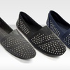 $13.99 for One Pair of Blue Suede Shoes Stone-Encrusted Slip-Ons